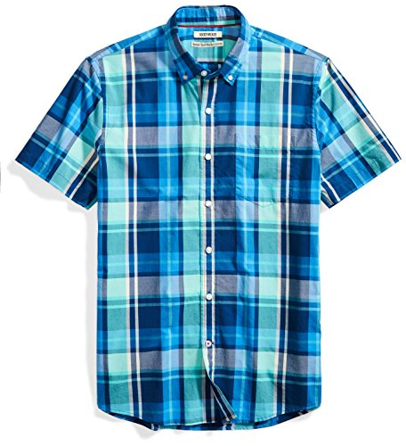 Goodthreads Men's Standard-Fit Short-Sleeve Scale Plaid Shirt, Blue/Aqua, (Aqua Blue Short Sleeve Shirt)
