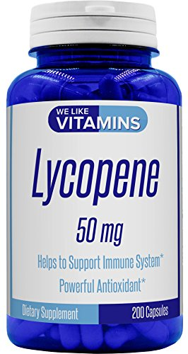 Max Strength Lycopene 50mg 200 Capsules (Non GMO & Gluten Free) - Best Value Lycopene Supplement on Amazon - Super Antioxidant which Helps Support Immune System and Prostate Health