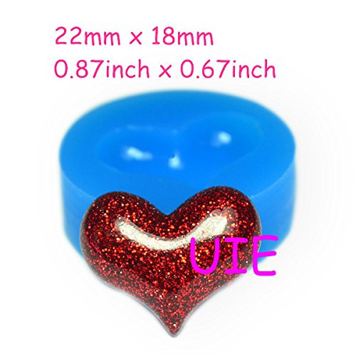 (048LBP Heart Mold Flexible Silicone Push Mold 22mm - Charms Fimo Polymer Clay Sugarcraft Cabochon Molds, Charms Mould Food Safe)