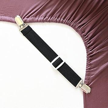 Ajustable de cama de soportes tirantes correas de los cinturones de pinzas con pinzas (unidades 4, en color blanco)
