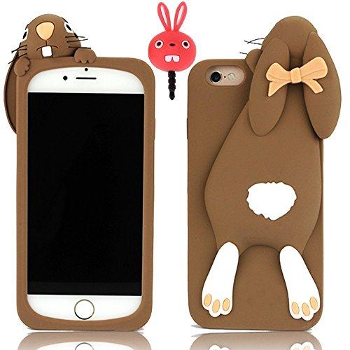 Vandot Funny Bucktooth Handyhülle Etui für iPhone 5 5S Hülle Fashion Case 3D Silikon Schutzhülle Tasche Buck Teeth Bunny Rabbit Soft Silicone Case Schale Cover for iPhone 5 5S - Braun, Karikatur Carto