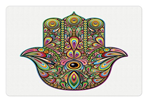 (Lunarable Hamsa Pet Mat for Food and Water, Psychedelic Pattern in Hamsa Spiral and Rotary Effects Boho Art, Rectangle Non-Slip Rubber Mat for Dogs and Cats, Multicolor)
