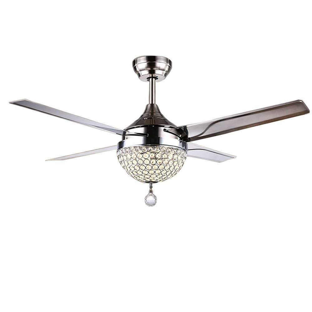 BDenise 44Inch Modern Ceiling Fan Lamp 4 Stainless Steel Blades Brush Effect K9 Crystal with Remote Control, Bulb Required
