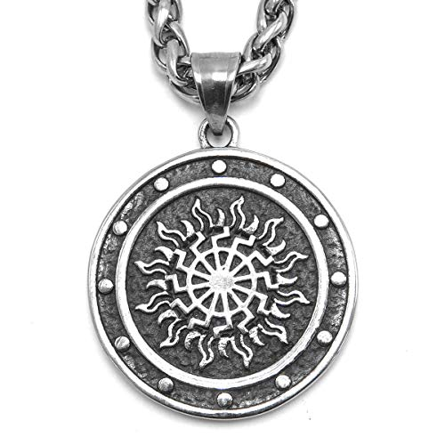 (ENXICO Sonnenrad The Black Sun Wheel Pendant Necklace ♦ 316L Stainless Steel ♦ Germanic Symbol Jewelry)