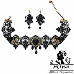 MEiySH Black Lace Gothic Lolita Pendant Choker Necklace Earrings Set 9
