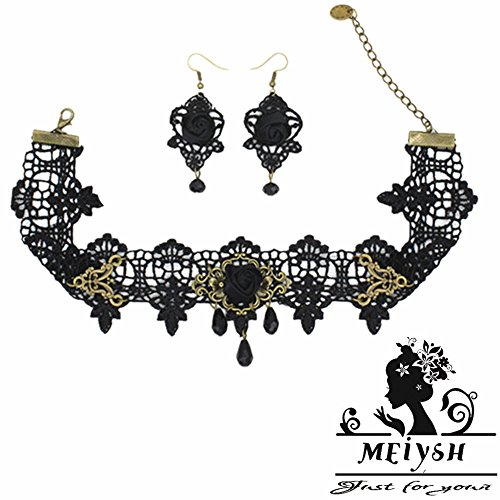 Meiysh Black Lace Gothic Lolita Pendant Choker Necklace Earrings Set (stlye003)