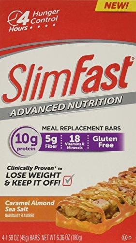 Slim Fast Advanced Nutrition Meal Bar, Caramel Almond Sea Salt, 4 Count (Pack of 4)