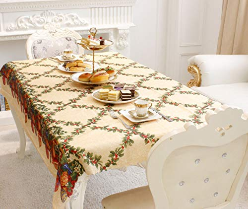 BlueSpace Christmas Table Cloth Cotton Linen Rectangle Printed Tablecloth Xmas Home Holiday Thanksgiving Day Christmas Eve Decoration 60
