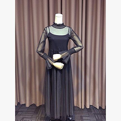 Wanglele Long-Sleeved Dress Dress Spring Half-High-Necked Two-Piece Long-Sleeved Mesh Yarn Dress, Black, L