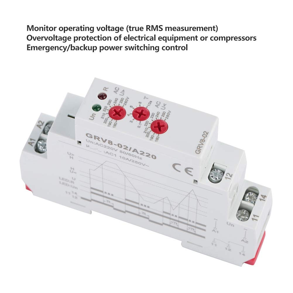 GRV8-02//AD240 GRV8-02 Single-Phase Voltage Control Monitoring Relay Over Voltage Protection for Electronic Components Voltage Monitoring Relay