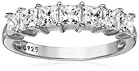 Platinum-Plated Sterling Silver Swarovski Zirconia Princess-Cut Ring from Amazon Collection