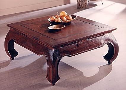 Tavolino Quadrato Stile Etnico 100 X 100 Cm In Legno Teak Massello Finitura Noce Prezzo Outlet Amazon It Casa E Cucina