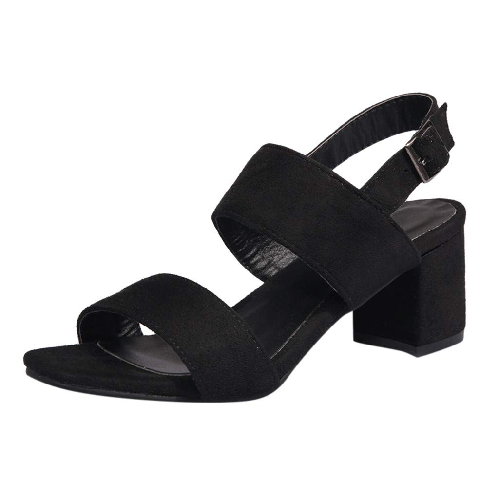 Fastbot Women's Summer Sandals Open Toe Casual Comfort High Heel Ankle Buckle Wild Ladies Shoes Black