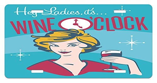 Ambesonne Wine License Plate, Ladies It's Wine O'Clock Woman Drinking Portrait Cheers Retro Design, High Gloss Aluminum Novelty Plate, 5.88