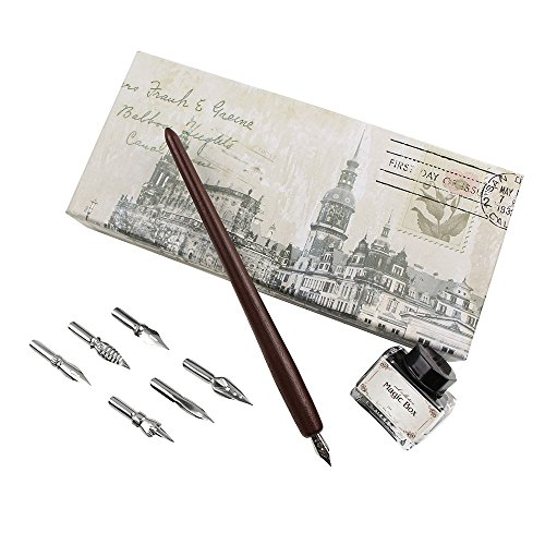 Set Nib (FEATTY Christmas Gifts Quill Pen Set Antique Dip Wooden Pen Calligraphy Writing with 6 PCS Nibs And Ink)