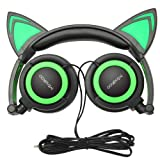 Cat Ear Headphones,MindKoo Kids Headphones Flashing Glowing Cosplay Fancy Foldable Over-Ear Gaming Headsets with LED Light for Girls,Children,Compatible for iPhone 6S,Android Phone (Green)