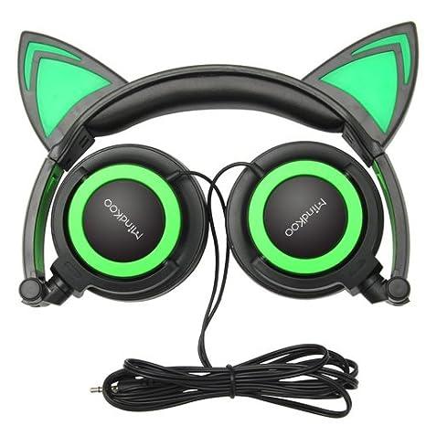 Orejas de Gato Auriculares,MindKoo Cat Ear Cascos Niños Kids Headphone Headset Gaming Plegable con