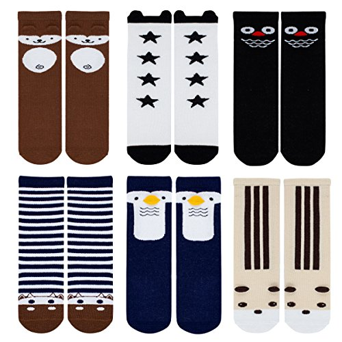 Baby Girls Boys Socks Cartoon Animal Knee High Cotton Socks with Non Skid Rubbers 6 Pairs (S, D dog cow)