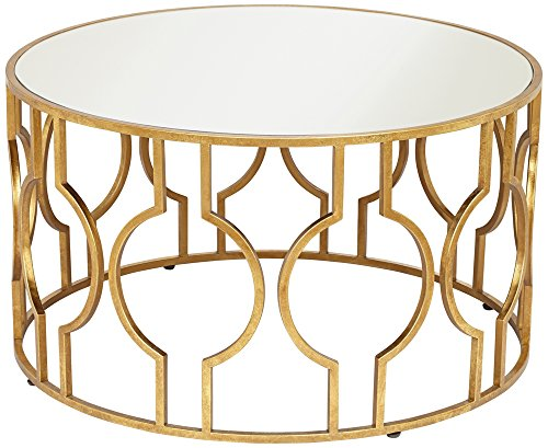 - 55 Downing Street Fara Antique Gold Leaf Round Coffee Table