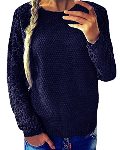 Pull ZANZEA Casual Crochet Femmes Dentelle fcRAgq