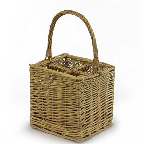 (JVL Four Bottle Steamed Willow Wicker Wine Drinks Gift Basket Holder Carrier, 25 x 25 x 44 cm)