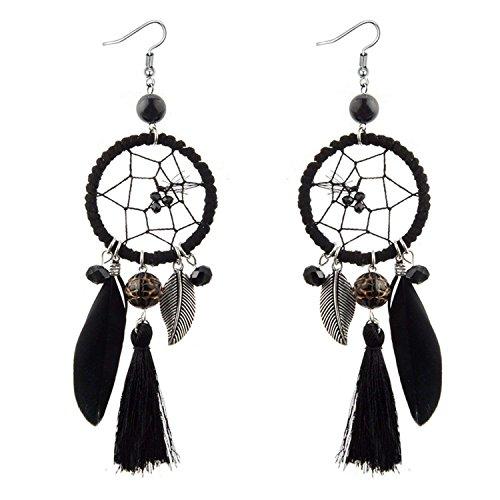 LeNG Fashion Ethnic Wind Wedding Jewelry Bohemian Crystal Beads Leaf Dream Catcher Cotton Tassel Earrings For Women,black by LeNG Earrings