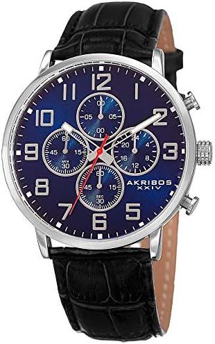 Akribos XXIV AK854 Essential Mens Casual Watch – Sunburst Effect Dial – Chronograph Quartz – Leather Strap