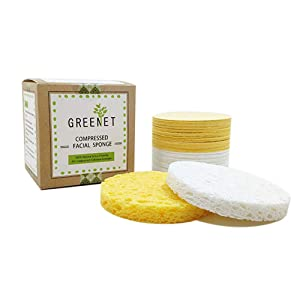 Facial Sponges (60 Count) for Natural Beauty, Exfoliation, and Deep Facial Cleansing | White and Beige Sponges Included, 2 Different Shapes for Choice | 100% Cellulose Facial Sponges by Greenet