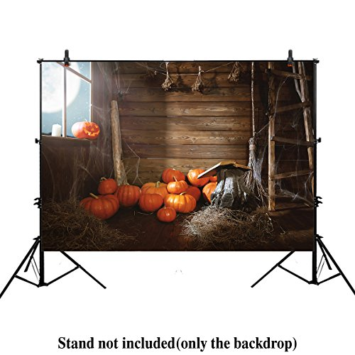 Allenjoy 7x5ft photography backdrop background Halloween background old wooden hut witches barn pumpkins cobwebs magic book broom autumn kids girl boys props photo studio - Little Web Hut
