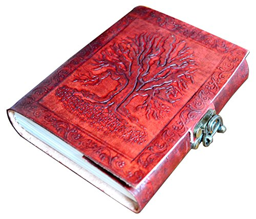 Adimani Tree of Life Handmade Brown Leather Diary/Travel Writing Journal Notebook/Personalized Writing Diary with Strap/Refillable Diary- Thoughtful G…