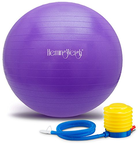 HemingWeigh Static Strength Exercise Stability Ball with Foot Pump | Perfect For Fitness Stability and Yoga | Helps Improve Agility, Core Strength, and Balance (Purple, 55cm)