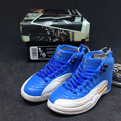 Pair Air Jordan XII 12 Retro Melo Carmelo PE OG Sneakers Shoes 3D Keychain 1:6 Figure + Shoe Box (Air Jordan Carmelo)