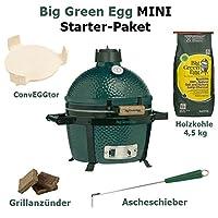 Mini Starter Set Keramikgrill Big Green Egg klein Keramik grün Ceramic Smoker Camping Balkon Picknick ✔ Deckel ✔ oval ✔ tragbar ✔ Grillen mit Holzkohle ✔ für den Tisch