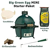 Mini Starter Set Kamado Grill Big Green Egg Keramik grün klein Keramikgrill Balkon Camping Picknick ✔ Deckel ✔ oval ✔ tragbar ✔ Grillen mit Holzkohle ✔ für den Tisch