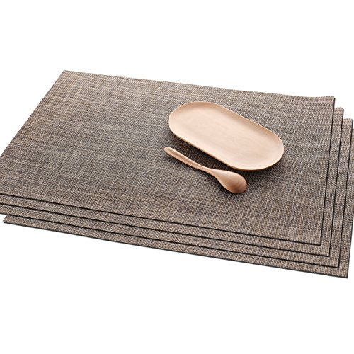 Florica Placemats Set of 4, Linen PVC Waterproof Insulation Mat for Dining Table, Heat-Resistant Placemats 12 x 18 inch (Brown)