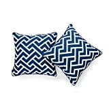 Hofdeco Decorative Throw Pillow Cover INDOOR OUTDOOR WATER RESISTANT Canvas Navy Blue City Maze 18''x18'' Set of 2