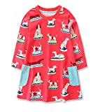 Little Girls Cute Dog Printed Dress with Pocket Casual Dresses 3/4 Long Sleeve Aline 2T