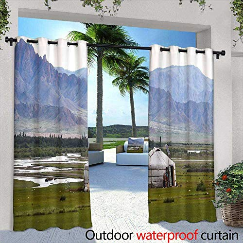 Lightly Outdoor- Free Standing Outdoor Privacy Curtain,Milk Thai Tea in Glass Mugs on Wood Table,W72 x L96 Silver Grommet Top Drape