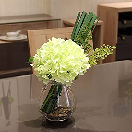 XPHOPOQ Flores artificiales hortensias orqudeas jarrones de cristal
