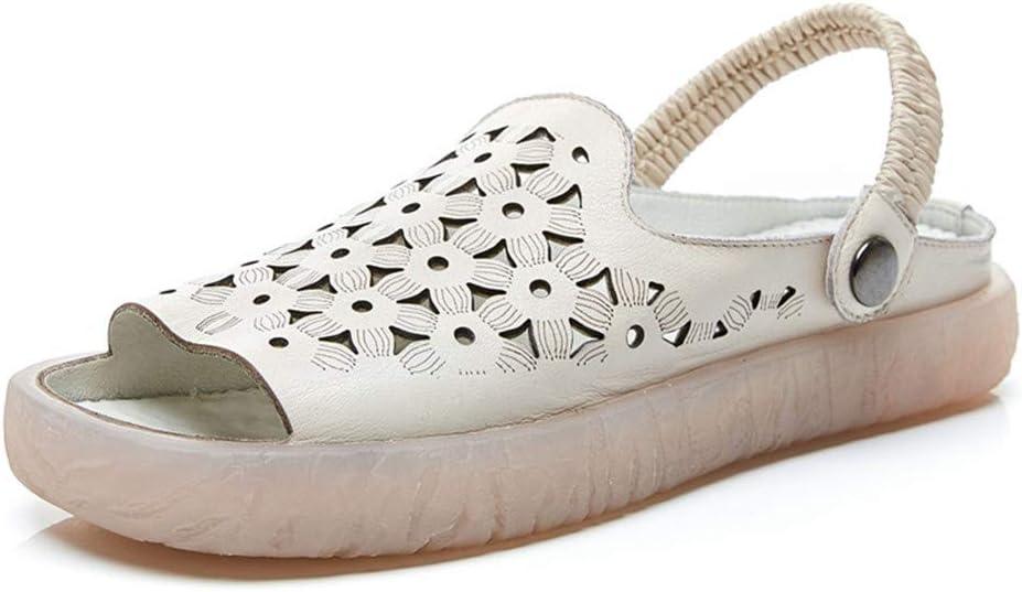 Sandalias De Cuero Hechas A Mano De Verano 2020 Sandalias De Res Antideslizantes Femeninas Sandalias De Gran Tamaño Huecas De Fondo Suave Tres Zapatillas Casuales Femeninas Zapatillas Baotou