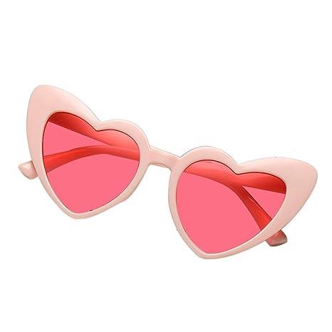 AOLVO con Forma de corazón Gafas de Sol, Retro Cute Ligero Marco de plástico Gafas HD Espejo para Las Mujeres/niñas UV400 Negro, C7, Talla única