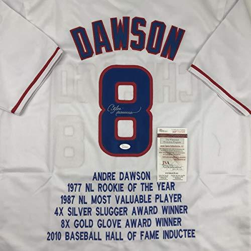 Autographed/Signed Andre Dawson Chicago White Stat Baseball Jersey JSA COA ()