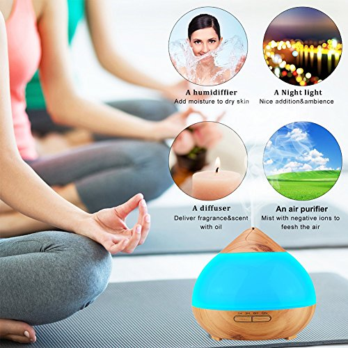 Diffusers for Essential Oils, 300ml Wood Grain Ultrasonic Essential Oil Diffuser Cool Mist Humidifier with Dewdrop Shaped Concept 7 Color Soothing Light Waterless Auto Shut-off for Home Baby Room