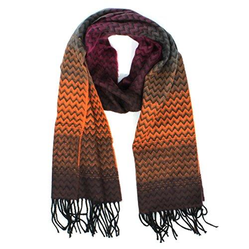 Croft and Barrow Ombre Zigzag Muffler Scarf for Women (Orange, Fuchsia, Grey, Black)