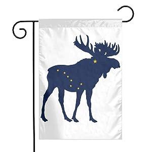 ZZATAA Alaska State Moose Flag Garden Flag Decoration Banner Decorative Sweet Home Yard Festival Outdoor 12X18inch