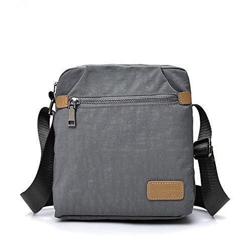 Compras Bolso de hombro de la bolsa de mensajero de la lona impermeable con cremallera retro simple Color gris Cómodo
