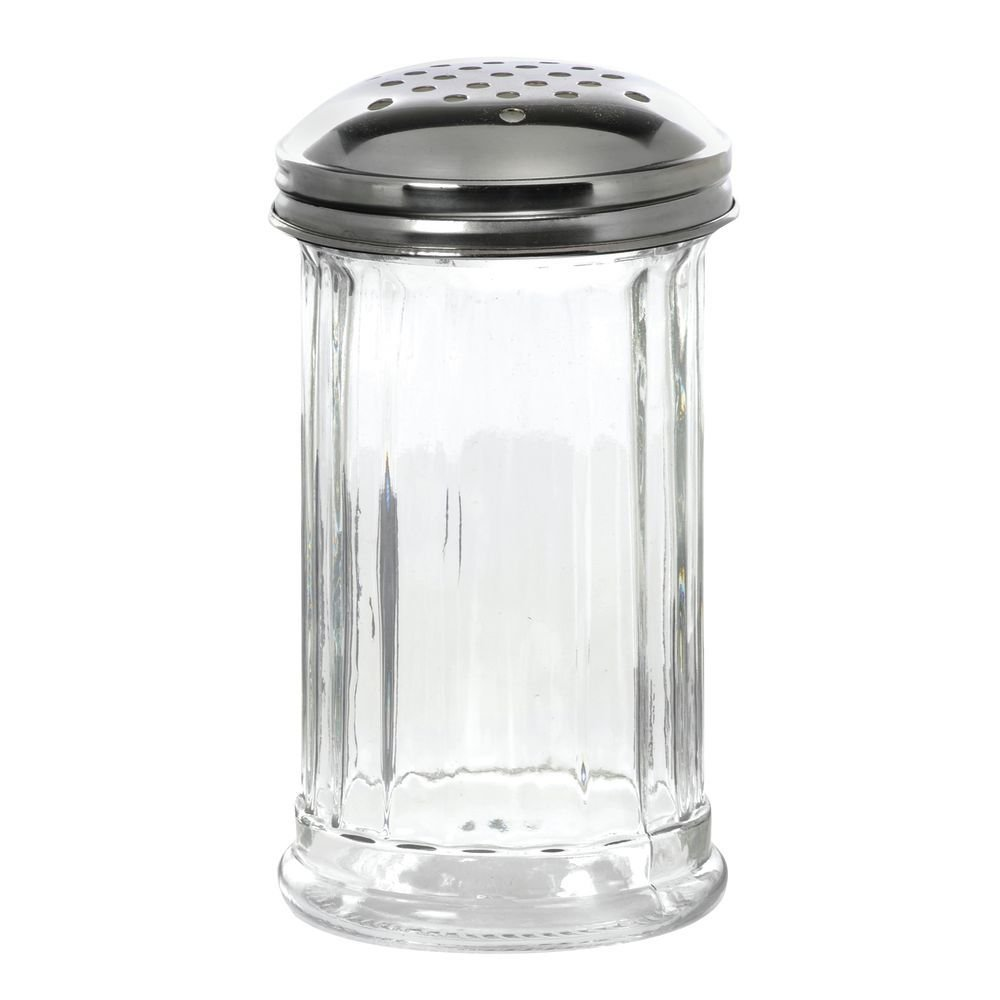 HUBERT Cheese Shaker with Perforated Top Glass Stainless Steel 12 Ounce