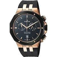 Edox Men's 'Delfin' Quartz Stainless Steel and Rubber Dress Watch, Color:Black (Model: 10110 357RNCA NIR)