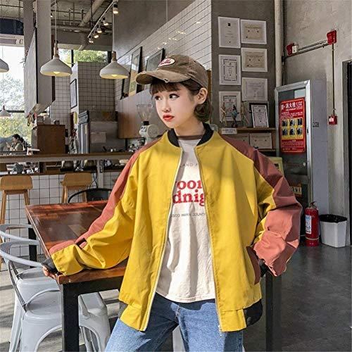 Donne Giacche College Fashion Casual Lunga Giacca Relaxed Misti Colori Cappotto Gelb Pilot Ragazze Zip Manica Donna Bomber Classiche Autunno rBqw6rT
