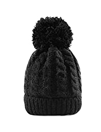 Women's Winter Beanie Warm Fleece Lining - Thick Slouchy Cable Knit Hat(Black)